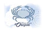 Cannon Beach, Oregon - Crab - Blue - Coastal Icon Posters by  Lantern Press