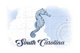 South Carolina - Seahorse - Blue - Coastal Icon Prints by  Lantern Press