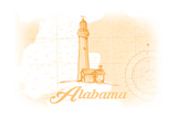 Alabama - Lighthouse - Yellow - Coastal Icon Art by  Lantern Press