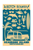 Seabrook Island, South Carolina - Coastal Icons Prints by  Lantern Press