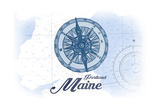 Portland, Maine - Compass - Blue - Coastal Icon Posters by  Lantern Press