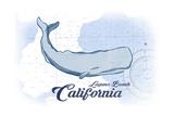 Laguna Beach, California - Whale - Blue - Coastal Icon Poster by  Lantern Press