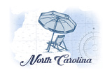 North Carolina - Beach Chair and Umbrella - Blue - Coastal Icon Posters by  Lantern Press