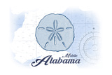 Mobile, Alabama - Sand Dollar - Blue - Coastal Icon Prints by  Lantern Press
