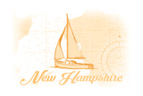 New Hampshire - Sailboat - Yellow - Coastal Icon Posters by  Lantern Press