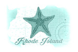 Rhode Island - Starfish - Teal - Coastal Icon Posters by  Lantern Press