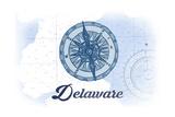 Delaware - Compass - Blue - Coastal Icon Prints by  Lantern Press