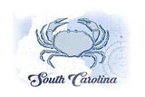 South Carolina - Crab - Blue - Coastal Icon Print by  Lantern Press