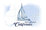 Santa Barbara, California - Sailboat - Blue - Coastal Icon Prints by  Lantern Press