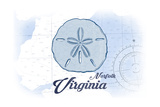 Norfolk, Virginia - Sand Dollar - Blue - Coastal Icon Poster by  Lantern Press