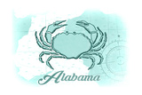 Alabama - Crab - Teal - Coastal Icon Print by  Lantern Press