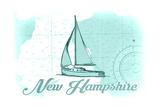 New Hampshire - Sailboat - Teal - Coastal Icon Prints by  Lantern Press