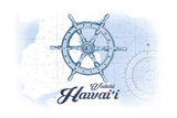 Waikiki, Hawaii - Ship Wheel - Blue - Coastal Icon Prints by  Lantern Press
