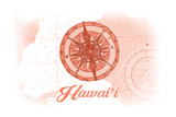 Hawaii - Compass - Coral - Coastal Icon Art by  Lantern Press