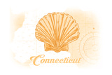 Connecticut - Scallop Shell - Yellow - Coastal Icon Posters by  Lantern Press