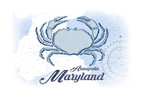 Annapolis, Maryland - Crab - Blue - Coastal Icon Prints by  Lantern Press