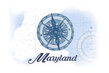 Maryland - Compass - Blue - Coastal Icon Posters by  Lantern Press