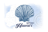 Waikiki, Hawaii - Scallop Shell - Blue - Coastal Icon Art by  Lantern Press