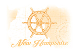 New Hampshire - Ship Wheel - Yellow - Coastal Icon Print by  Lantern Press