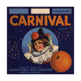 Carnival Brand - Anaheim, California - Citrus Crate Label Prints by  Lantern Press