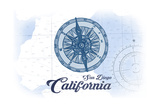 San Diego, California - Compass - Blue - Coastal Icon Prints by  Lantern Press