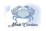 North Carolina - Crab - Blue - Coastal Icon Print by  Lantern Press