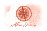 New Jersey - Compass - Coral - Coastal Icon Poster by  Lantern Press