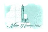 New Hampshire - Lighthouse - Teal - Coastal Icon Prints by  Lantern Press