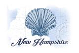 New Hampshire - Scallop Shell - Blue - Coastal Icon Prints by  Lantern Press