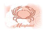 Maryland - Crab - Coral - Coastal Icon Prints by  Lantern Press