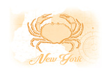 New York - Crab - Yellow - Coastal Icon Posters by  Lantern Press