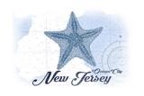Ocean City, New Jersey - Starfish - Blue - Coastal Icon Prints by  Lantern Press