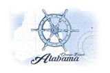 Orange Beach, Alabama - Ship Wheel - Blue - Coastal Icon Posters by  Lantern Press