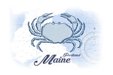 Portland, Maine - Crab - Blue - Coastal Icon Art by  Lantern Press