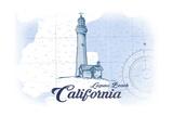 Laguna Beach, California - Lighthouse - Blue - Coastal Icon Prints by  Lantern Press