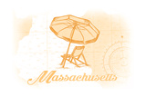 Massachusetts - Beach Chair and Umbrella - Yellow - Coastal Icon Prints by  Lantern Press