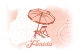 Florida - Beach Chair and Umbrellas - Coral - Coastal Icon Prints by  Lantern Press