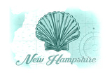 New Hampshire - Scallop Shell - Teal - Coastal Icon Prints by  Lantern Press