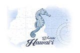 Waikiki, Hawaii - Seahorse - Blue - Coastal Icon Posters by  Lantern Press