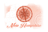 New Hampshire - Compass - Coral - Coastal Icon Print by  Lantern Press