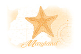 Maryland - Starfish - Yellow - Coastal Icon Prints by  Lantern Press