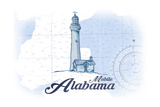 Mobile, Alabama - Lighthouse - Blue - Coastal Icon Prints by  Lantern Press