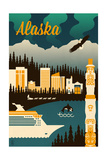 Alaska - Retro Skyline Poster by  Lantern Press
