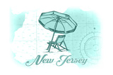 New Jersey - Beach Chair and Umbrella - Teal - Coastal Icon Art by  Lantern Press