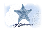 Alabama - Starfish - Blue - Coastal Icon Posters by  Lantern Press
