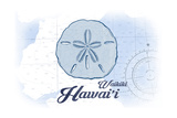 Waikiki, Hawaii - Sand Dollar - Blue - Coastal Icon Posters by  Lantern Press