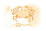 Hawaii - Crab - Yellow - Coastal Icon Prints by  Lantern Press