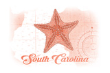 South Carolina - Starfish - Coral - Coastal Icon Poster by  Lantern Press