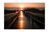 Beach Boardwalk Sunrise Print by  Lantern Press