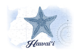 Hawaii - Starfish - Blue - Coastal Icon Posters by  Lantern Press